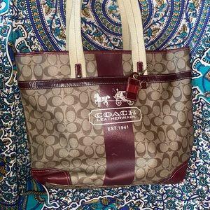 Coach signature heritage stripe purse tote 11351